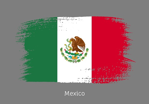 Mexico official flag in shape of brush stroke