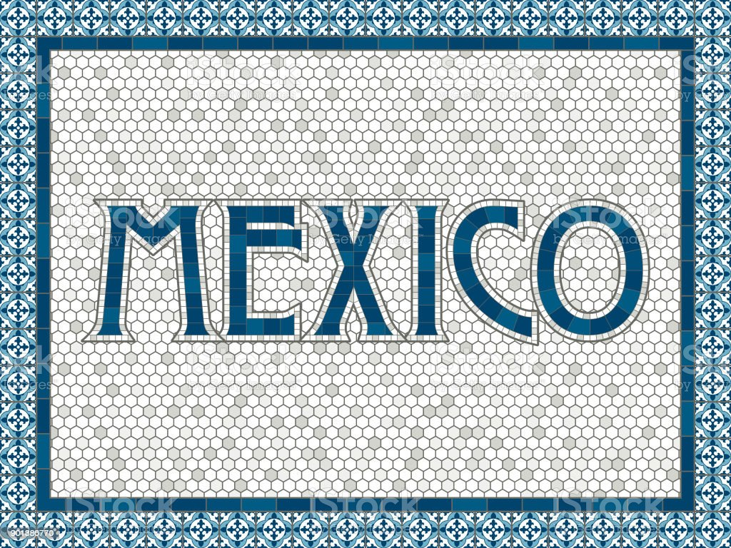 Mexiko alte altmodische Mosaik Fliesen Typografie – Vektorgrafik