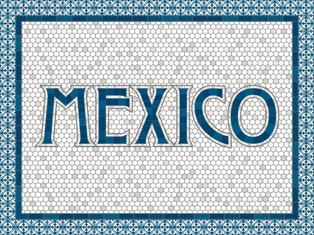 ilustraciones, imágenes clip art, dibujos animados e iconos de stock de méxico antiguo azulejo mosaico tradicional tipografía - patrones de azulejos