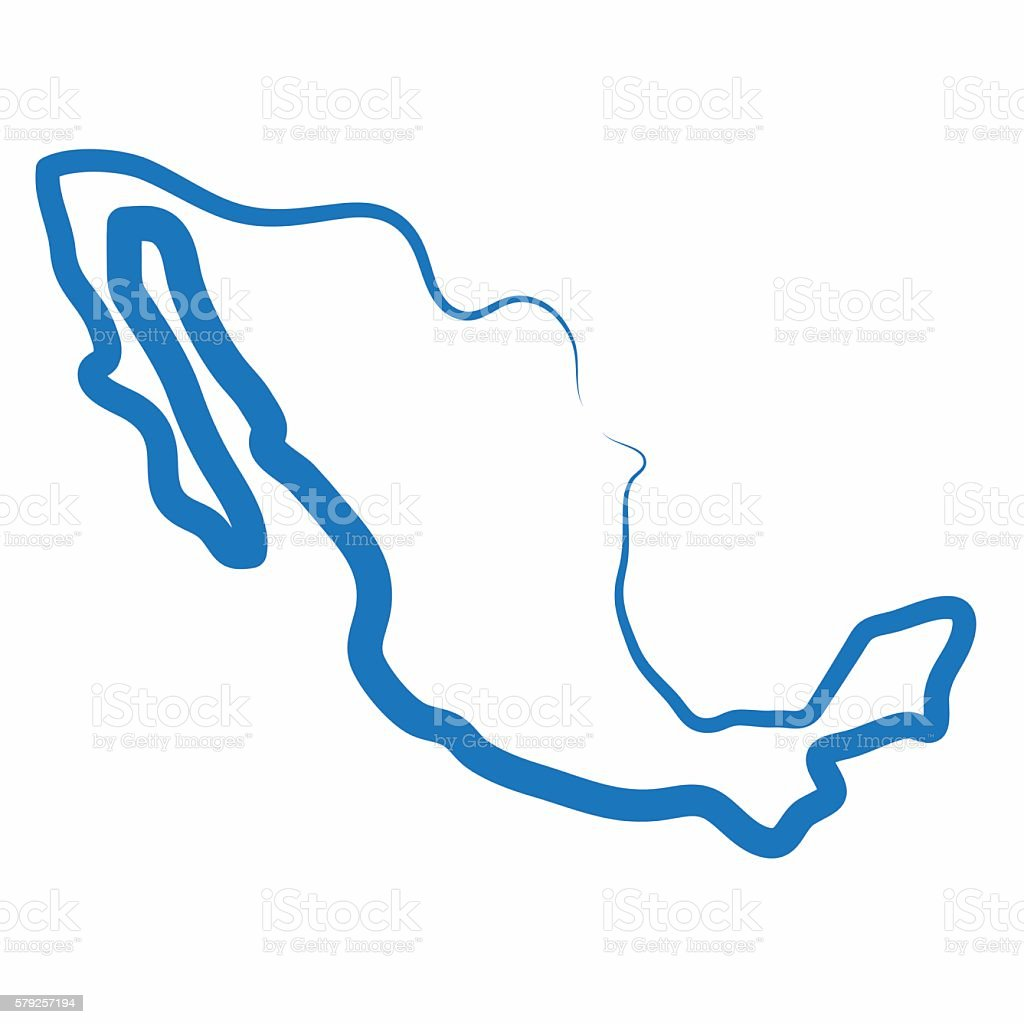 Single Line Vector Art : Mexico outline map made from a single line stock vector