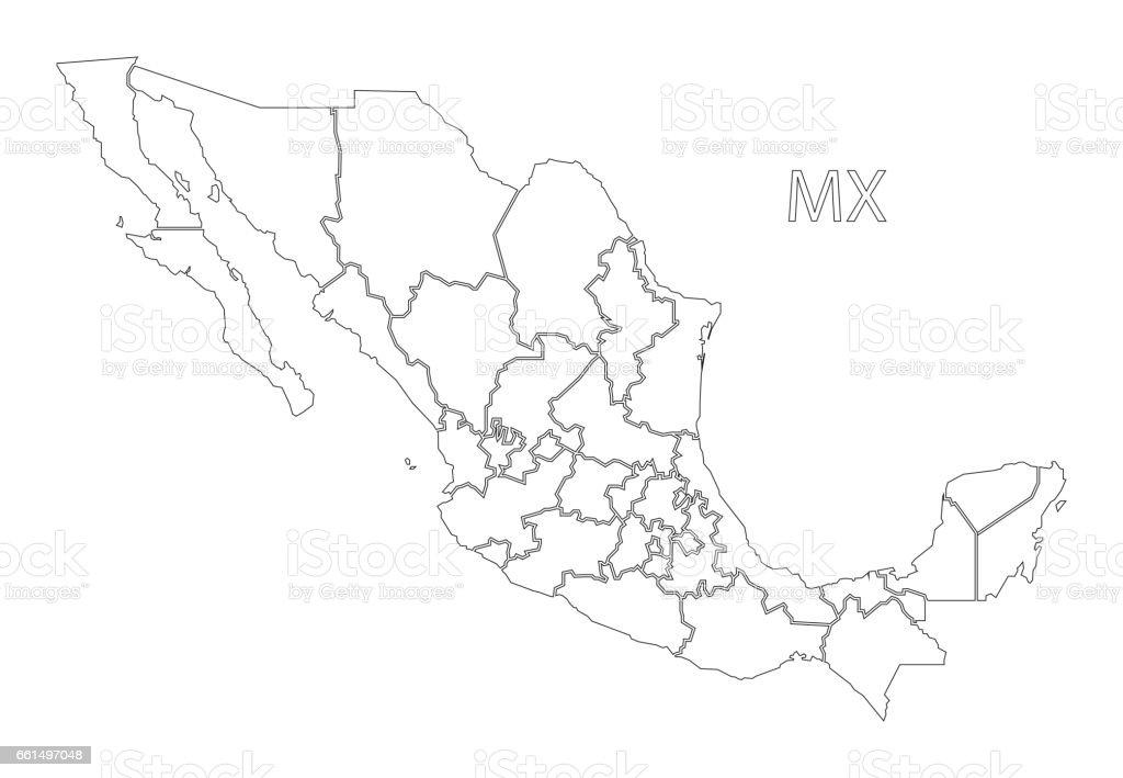 Mexiko Karte Umriss.Mexiko Umriss Silhouette Karte Abbildung Mit Staaten Stock