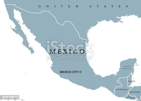 Mexico Political Map Stock Vector Art & More Images of Belize ...