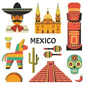 Vector icons collection of Mexican culture and food, including maracas, Sugar skull, Mayan pyramid, portrait of mariachi, taco and pinata in trendy flat style. Isolated on white.