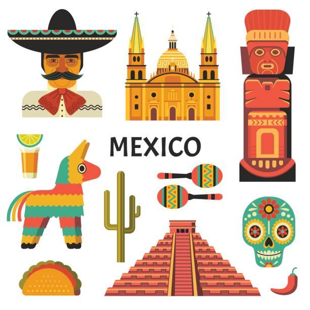 bildbanksillustrationer, clip art samt tecknat material och ikoner med mexiko affisch. - cactus lime