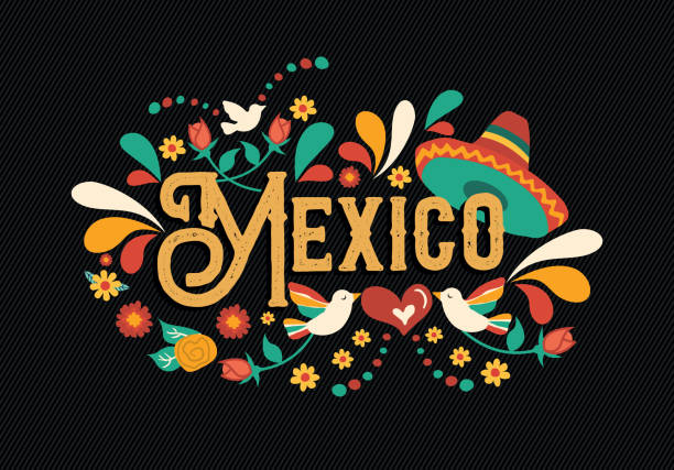 Mexico quote greeting card for mexican holiday Mexico country typography illustration with traditional mexican culture decoration in hand drawn style for national event, party or festive celebration. mexico stock illustrations