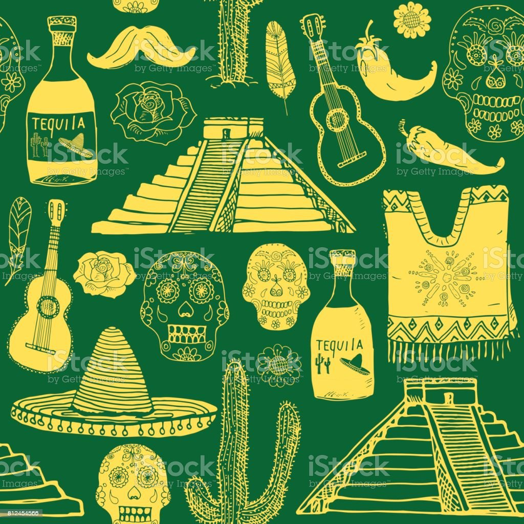 Mexico Seamless Pattern Doodle Elements Hand Drawn Sketch Mexican