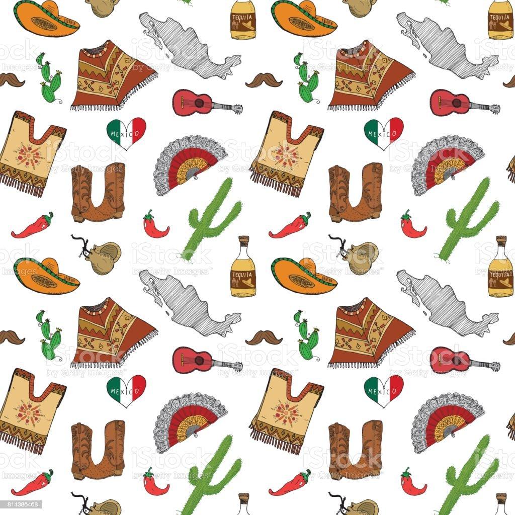 Ilustración de Elementos De Doodle De Patrones Sin Fisuras De México ...