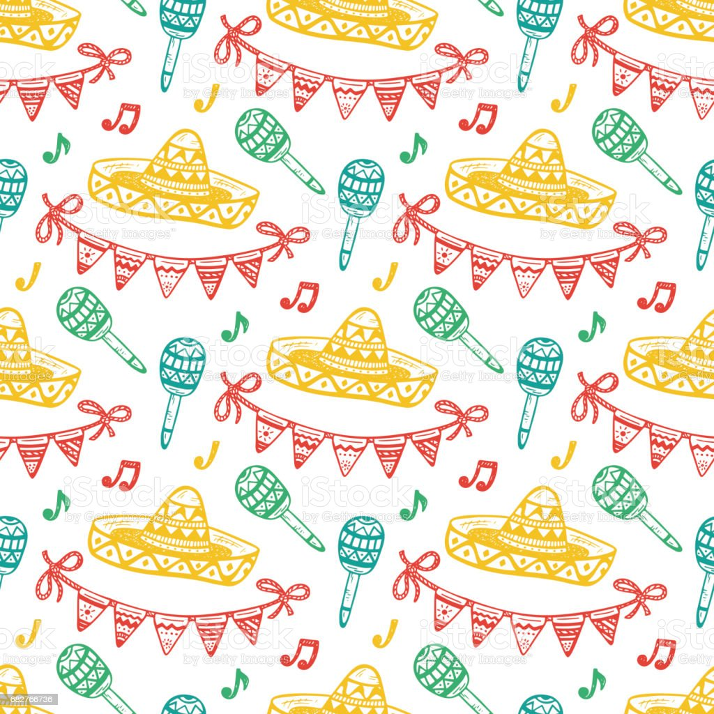 Mexico Seamless Pattern Mexican Holiday Vector Background