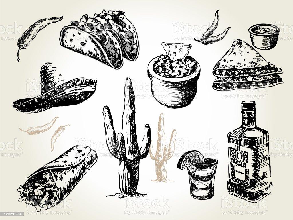 mexico set vector art illustration