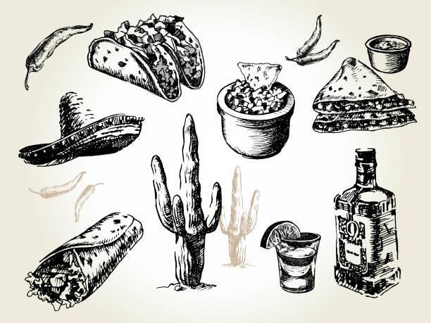 mexico set - mexican food stock illustrations, clip art, cartoons, & icons