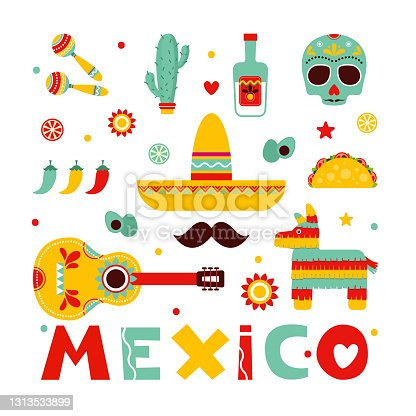 istock Mexico. Set with symbols of Mexico Mexican guitar, mustache, tequila, pepper, skull. Colorful stylish vector illustration set Mexico. Mexican maracas, pinata, tacos. Original illustration and design 1313533899