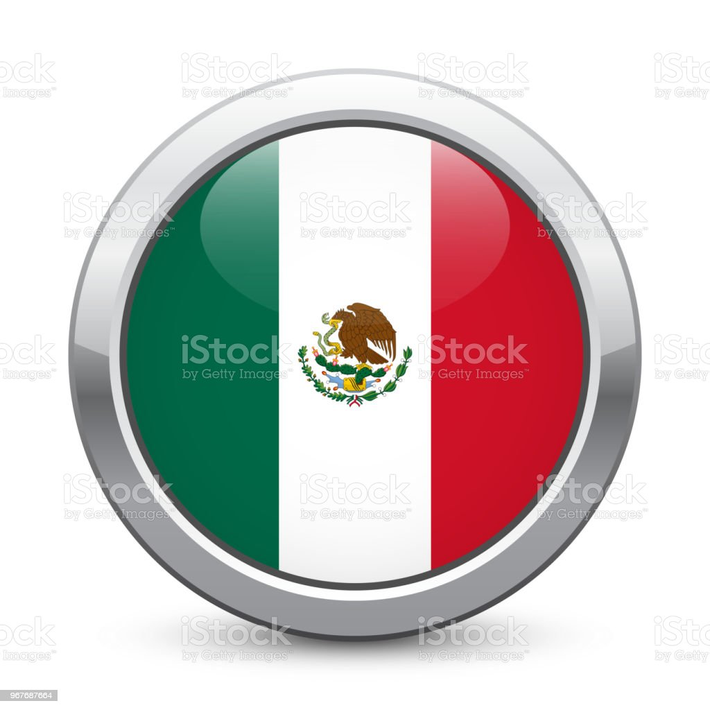 Mexico Shiny Metallic Button With National Flag Mexican Symbol