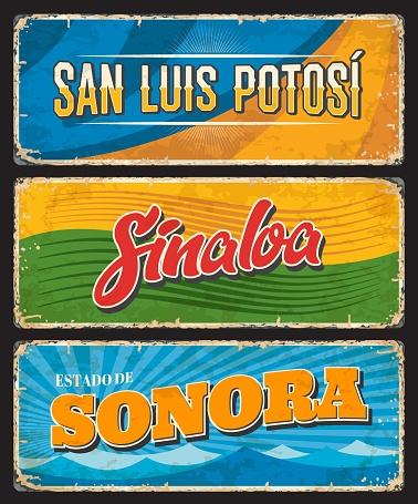 Mexico signs and grunge plates of San Luis Potosi, Sinaloa