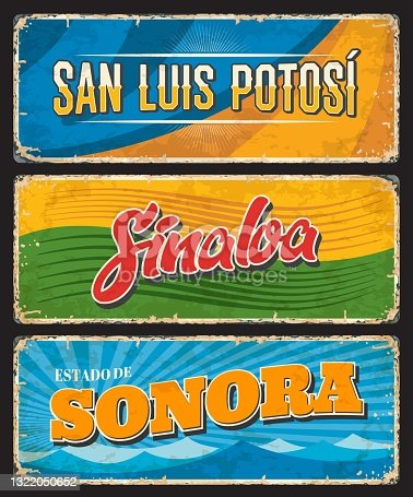 istock Mexico signs and grunge plates of San Luis Potosi, Sinaloa 1322050652