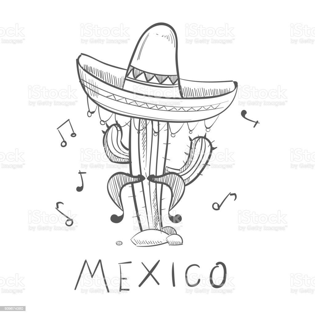 Ilustración de Cactus De México Bosquejo En Sombrero Mexicano ...