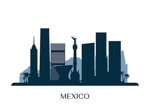 Mexico skyline, monochrome silhouette. Vector illustration.