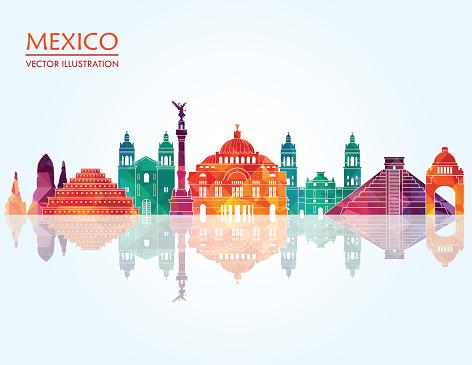 Mexico skyline. Vector illustration