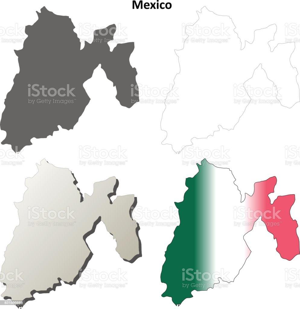 Mexiko Karte Umriss.Mexiko Staat Leere Umriss Karte Gesetzt Stock Vektor Art Und