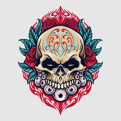 Mexico sugar skull dia de los Muertos Illustrations for clothing line merchandise sticker and t-shirt wear, poster publications