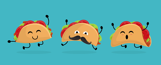 Mexico taco set in cartoon style. Taco with traditional Mexican food. With moustache and happy emotion. Vector character.