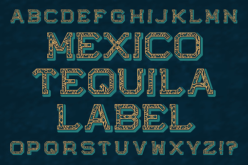 Mexico tequila label typeface. Isolated english alphabet.