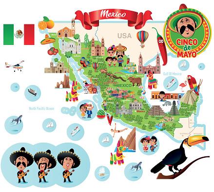 Mexico, Travel map, Cartoon Map
