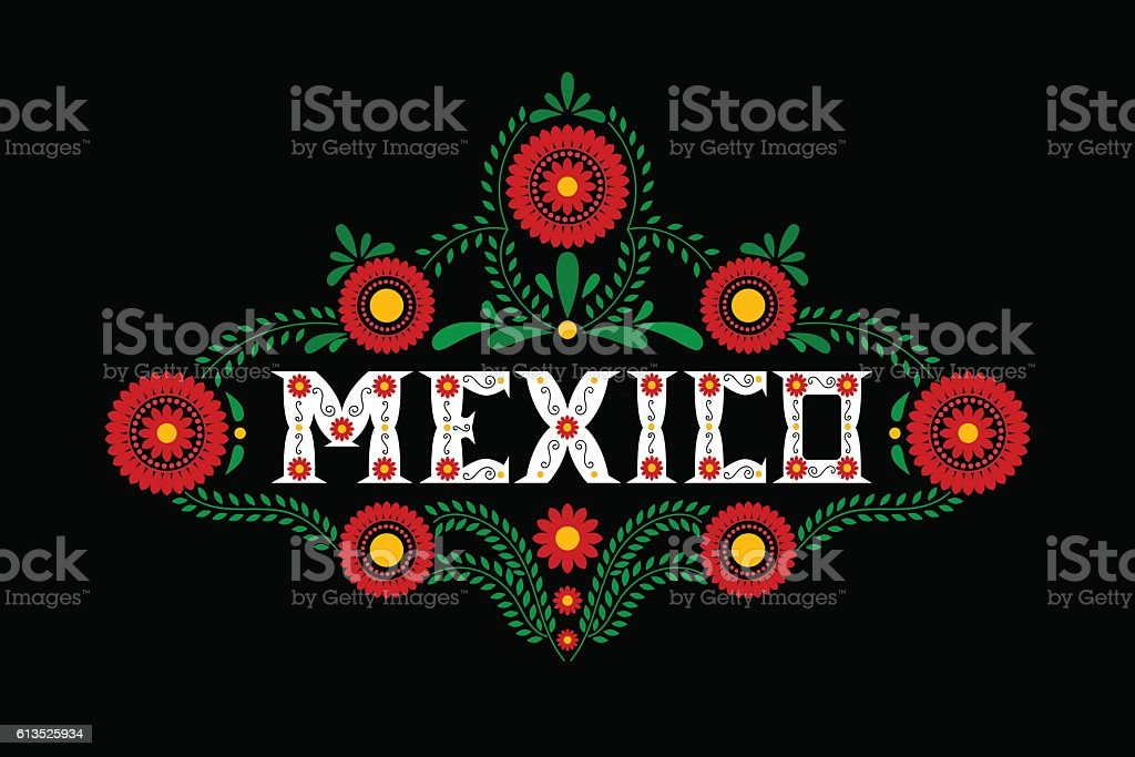 Mexico typography vector. Mexican flowers ornament on black background