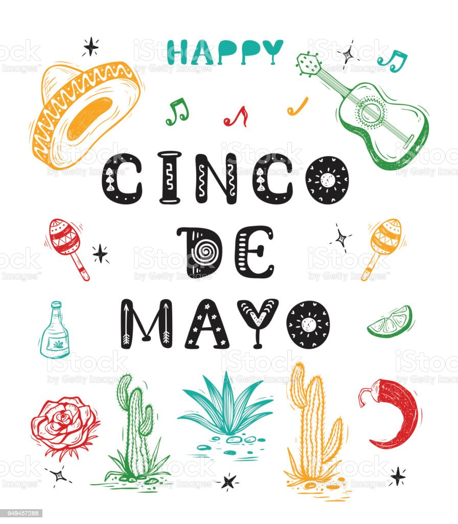 Mexico vector background happy cinco de mayo greeting card with hand happy cinco de mayo greeting card with hand drawn lettering and sketch m4hsunfo