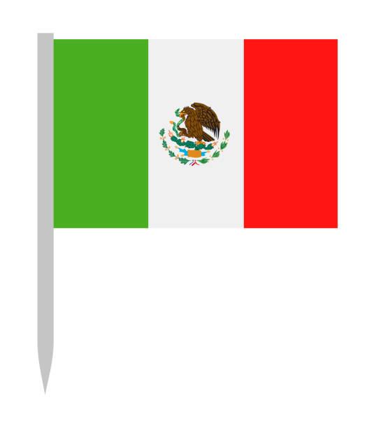 Mexico - Vector Flag Pin Flat Icon vector art illustration