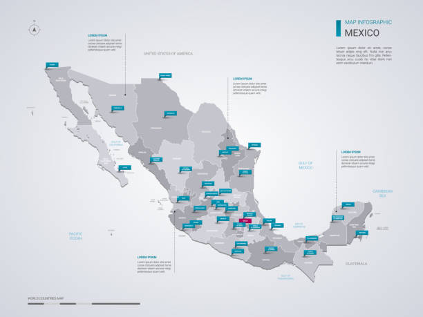 Mexico vector map with infographic elements, pointer marks. Mexico vector map with infographic elements, pointer marks. Editable template with regions, cities and capital. mexico stock illustrations