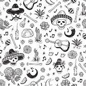 Mexico Vector Seamless Pattern. Dia de los Muertos Day of the Dead. Background with Mexican Holiday Symbols: Mexican Skulls, Food, Pan de Muerto, Sugar Skulls, Marigold Flowers, Guitar, Cactus