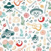 Mexico Vector Seamless Pattern. Dia de los Muertos. Day of the Dead. Background with Mexican Holiday Symbols: Mexican Skulls, Food, Pan de Muerto, Sugar Skulls, Marigold Flowers, Guitar, Cactus