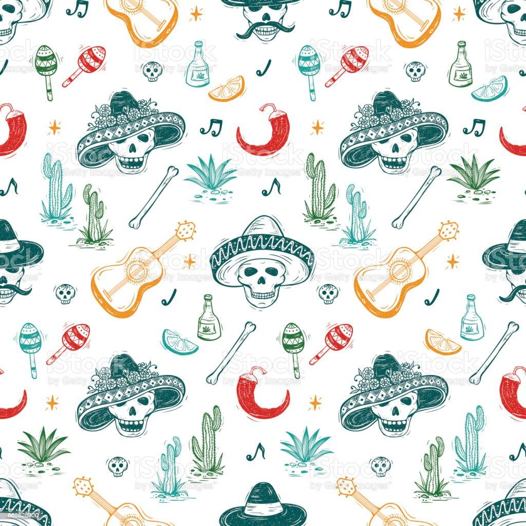 Mexico Vector Seamless Pattern Dia De Los Muertos Day Of The Dead Background