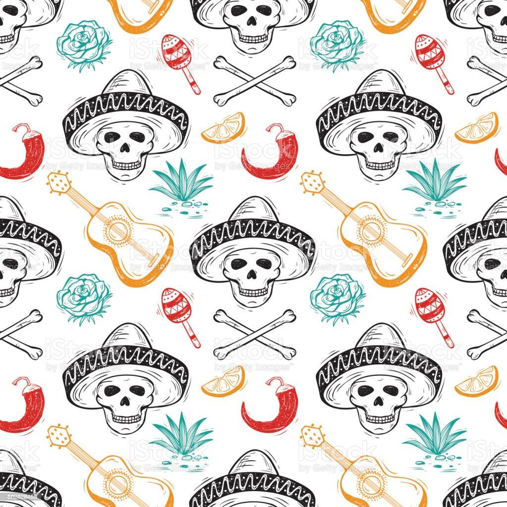 Mexico Vector Seamless Pattern Dia De Los Muertos Day Of The Dead Mexican