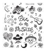 Mexico Vector Set. Dia de los Muertos. Day of the Dead. Mexican Holiday Symbols: Mexican Skulls, Food, Pan de Muerto, Sugar Skulls, Marigold Flowers, Guitar, Cactus and Calligraphic Lettering