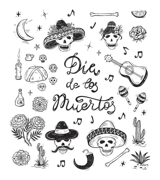 bildbanksillustrationer, clip art samt tecknat material och ikoner med mexiko vektor set. dia de los muertos. day of the dead. mexikanska holiday symboler: mexikanska dödskallar, föda, pan de muerto, sugar skulls, ringblomma blommor, gitarr, cactus, kalligrafiska bokstäver - cactus lime