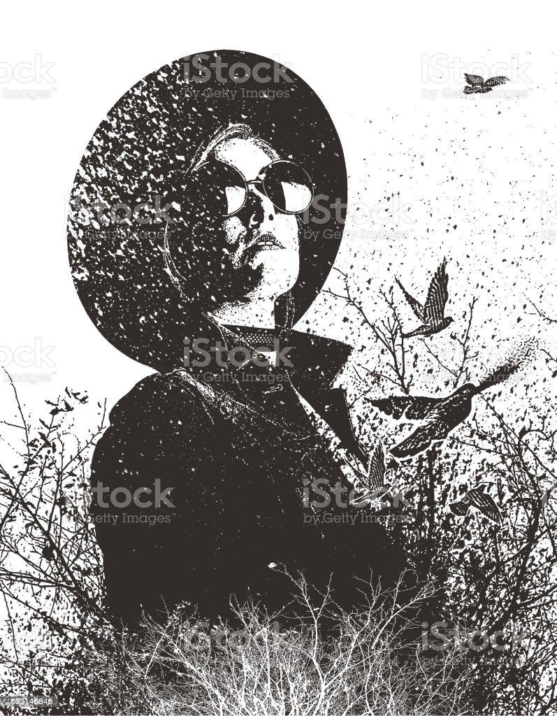 Schabkunst Abbildung einer Frau Hipster, Natur genießen und auf der Suche nach der richtige Weg. – Vektorgrafik
