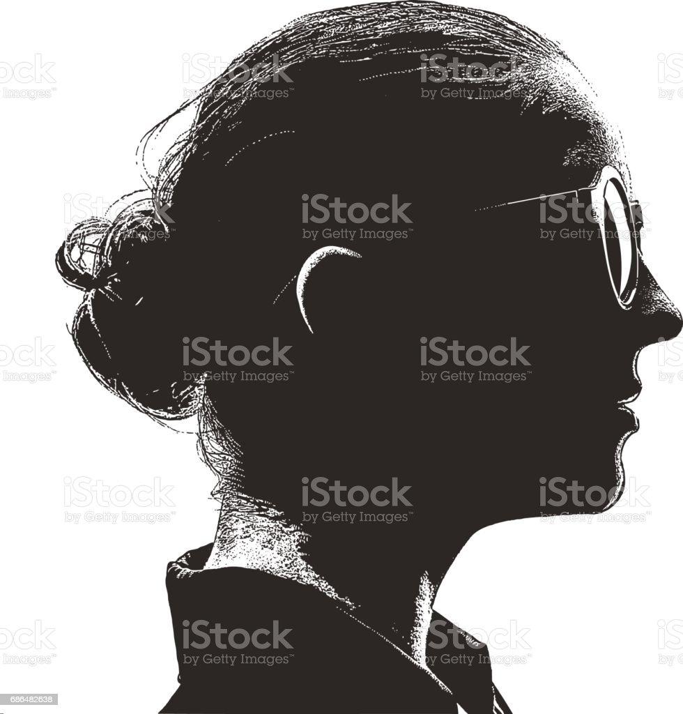 Mezzotint silhouette profile portrait of an intelligent, young woman vector art illustration