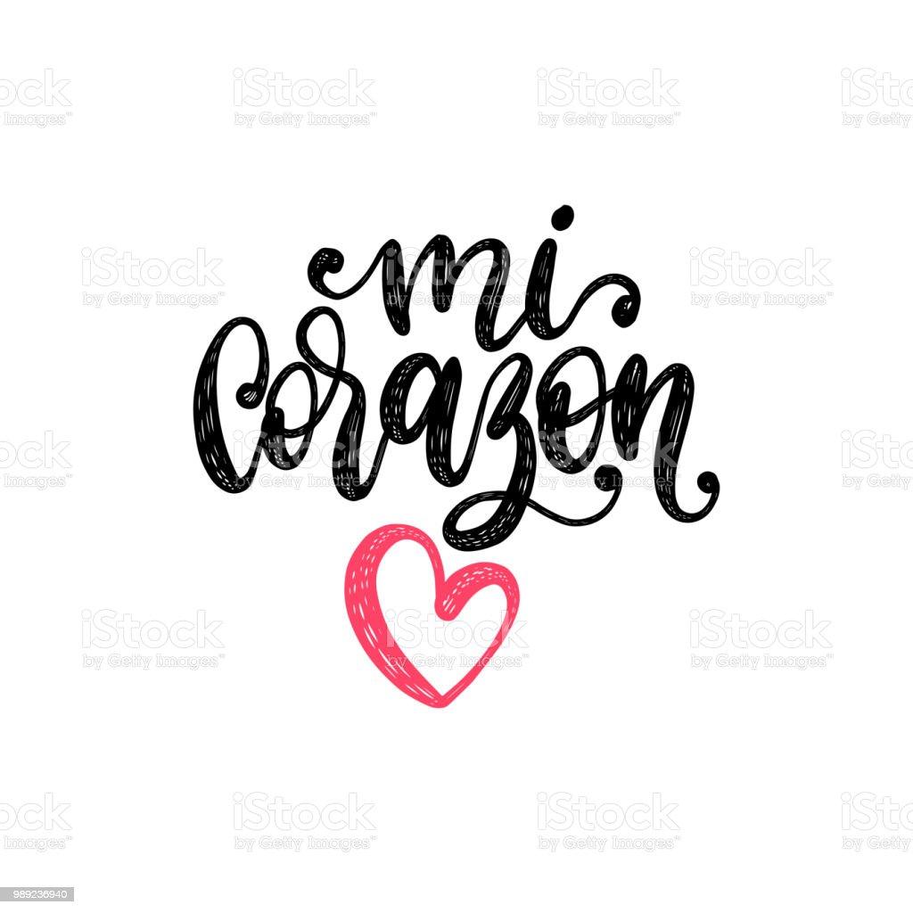 Ilustração De Mi Corazón Vector Letras De Mão Tradução Do Espanhol