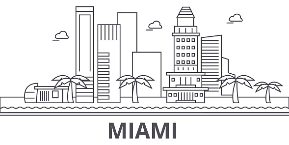 Miami architecture line skyline illustration. Linear vector cityscape with famous landmarks, city sights, design icons. Landscape wtih editable strokes