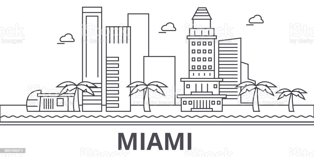 Miami architecture line skyline illustration. Linear vector cityscape with famous landmarks, city sights, design icons. Landscape wtih editable strokes vector art illustration
