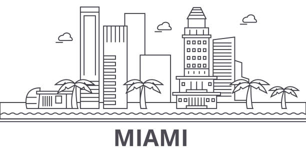 Miami architecture line skyline illustration. Linear vector cityscape with famous landmarks, city sights, design icons. Landscape wtih editable strokes Miami architecture line skyline illustration. Linear vector cityscape with famous landmarks, city sights, design icons. Editable strokes miami stock illustrations