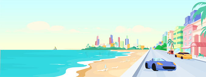 Miami beach at daytime flat color vector illustration