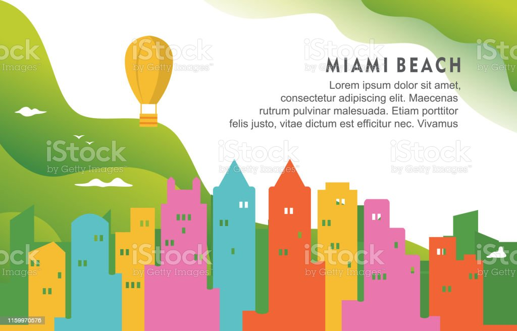 Miami Beach Florida City Building Cityscape Skyline Dynamic...