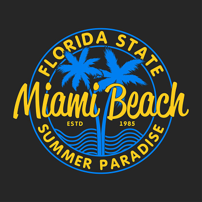 Miami Beach, Florida State - typography for design clothes, t-shirts with palm trees and waves. Graphics for print product, apparel. Vector