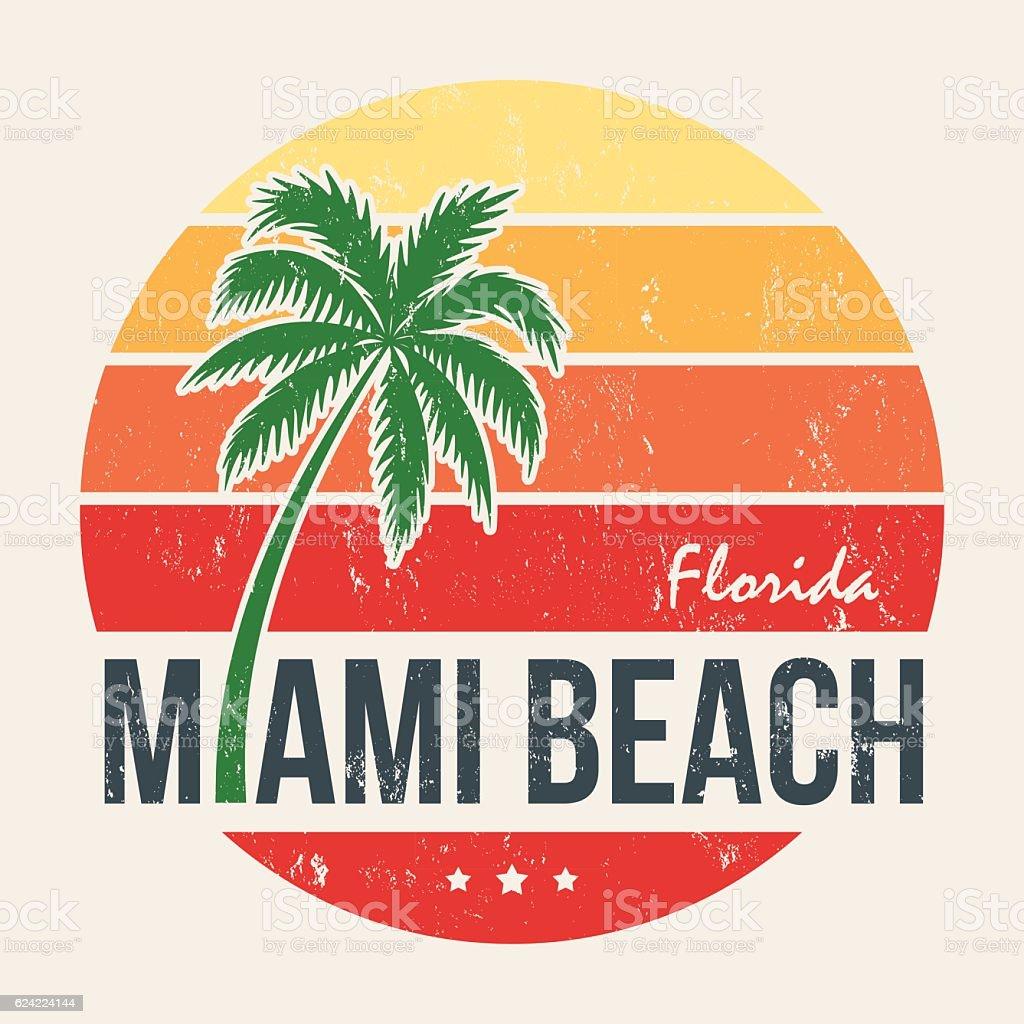 Miami Beach Florida Tee Print With Palm Tree Stock Vektor Art und ...