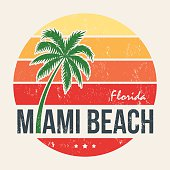 Miami beach Florida tee print with palm tree.