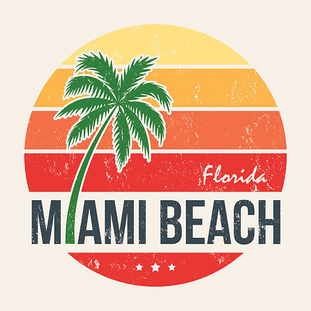 miami beach florida tee print with palm tree. - beach fashion stock illustrations, clip art, cartoons, & icons