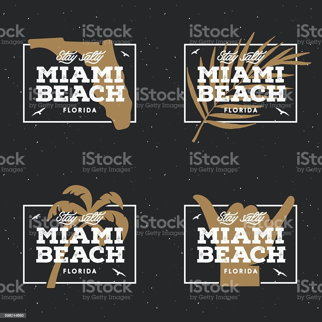 Miami Beach Florida Tshirt Design Vector Vintage Illustration Stock