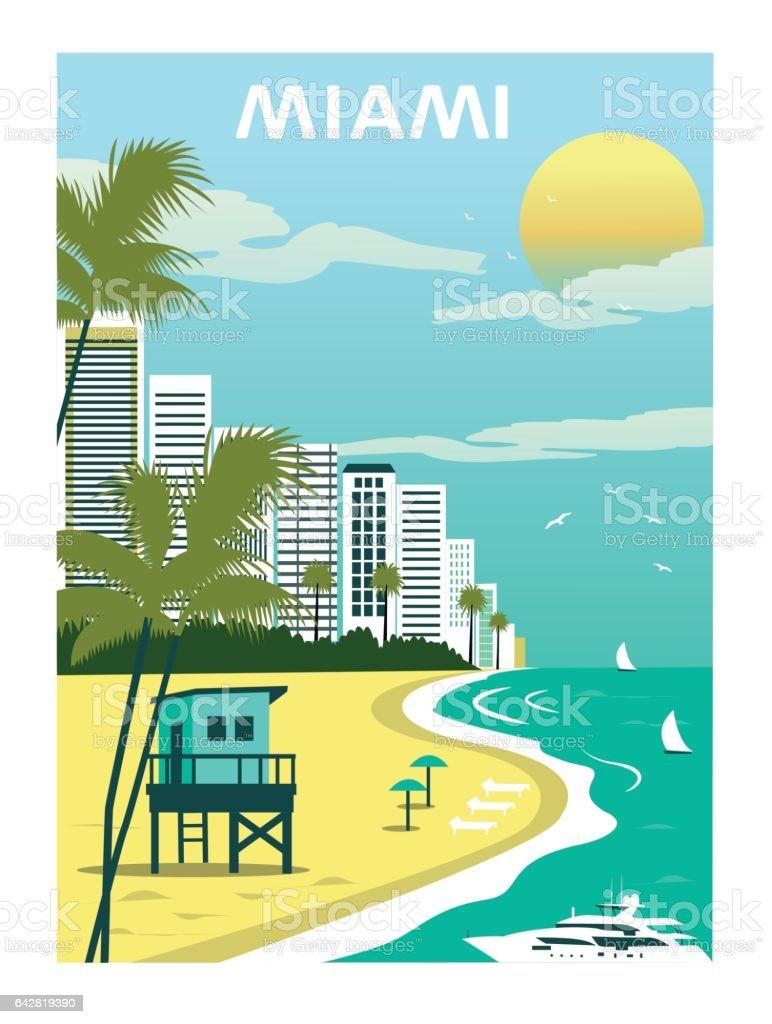 Miami Beach. Florida. vector art illustration